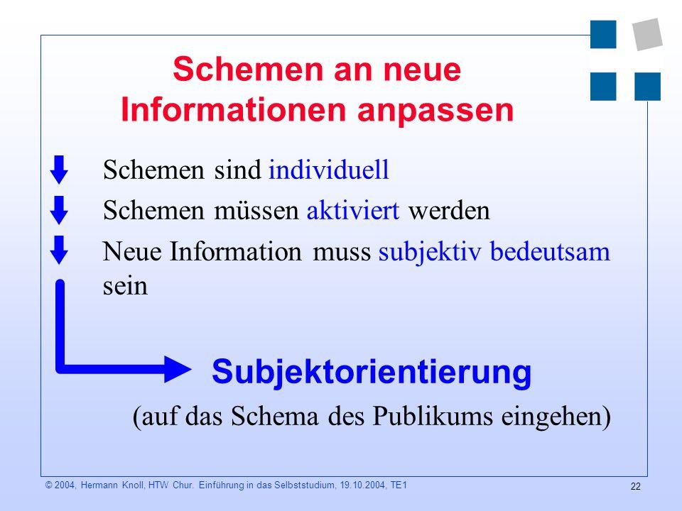 Schemen an neue Informationen anpassen