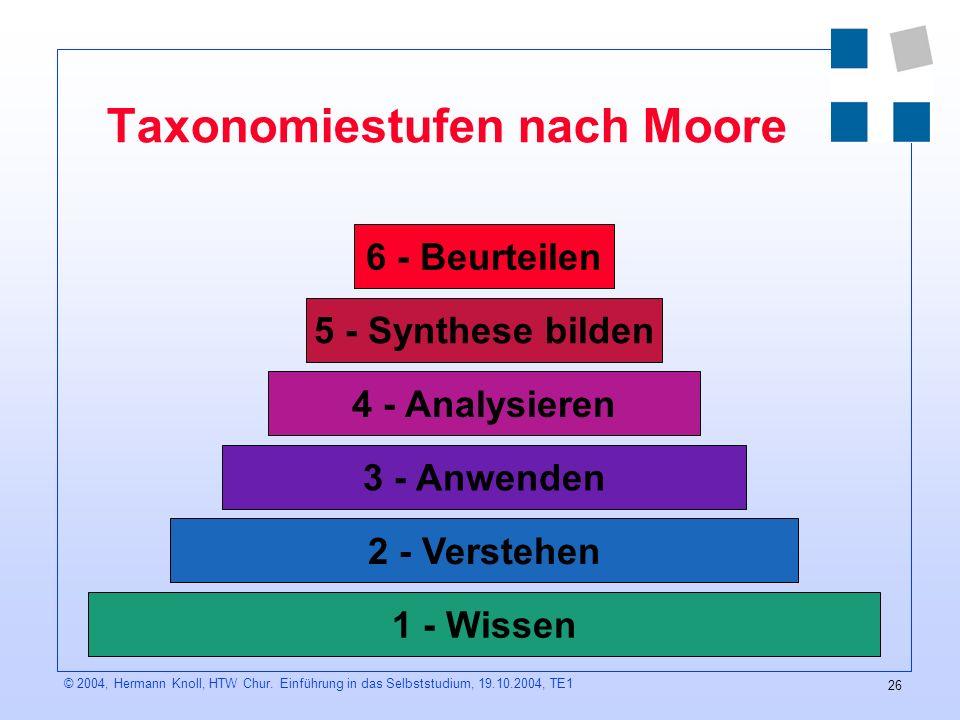 Taxonomiestufen nach Moore