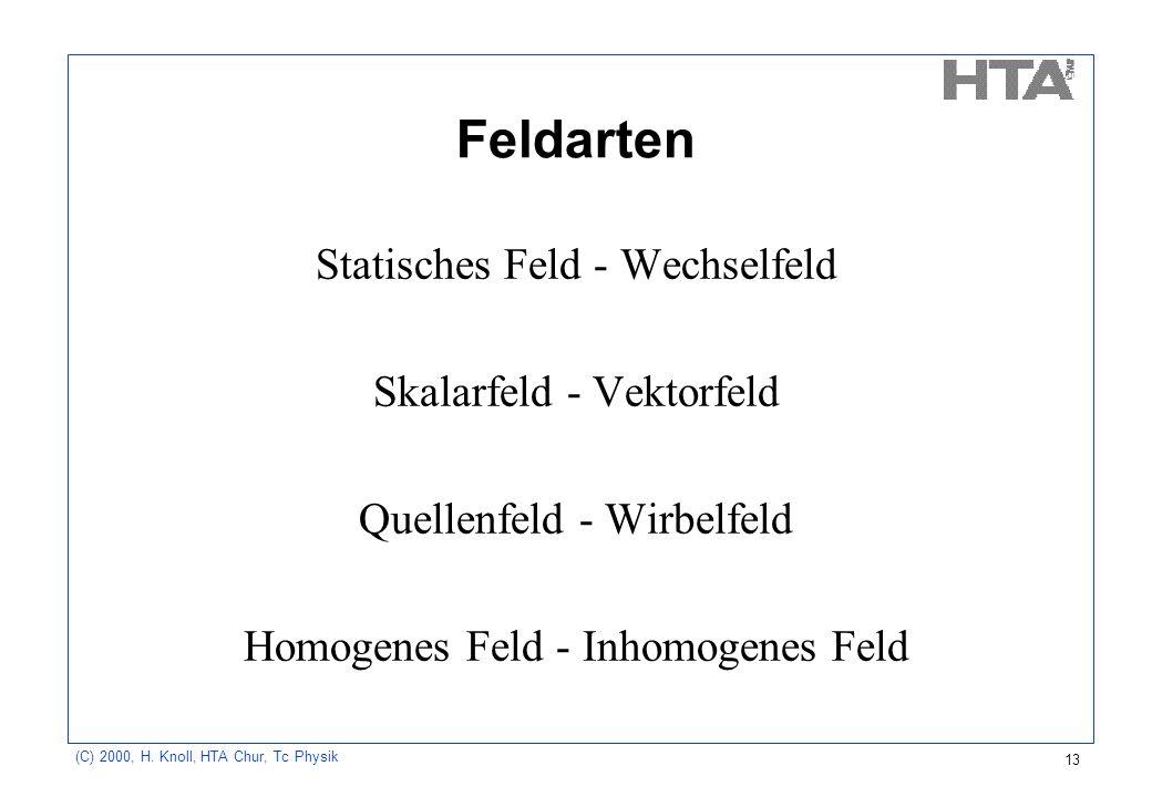 Feldarten Statisches Feld - Wechselfeld Skalarfeld - Vektorfeld