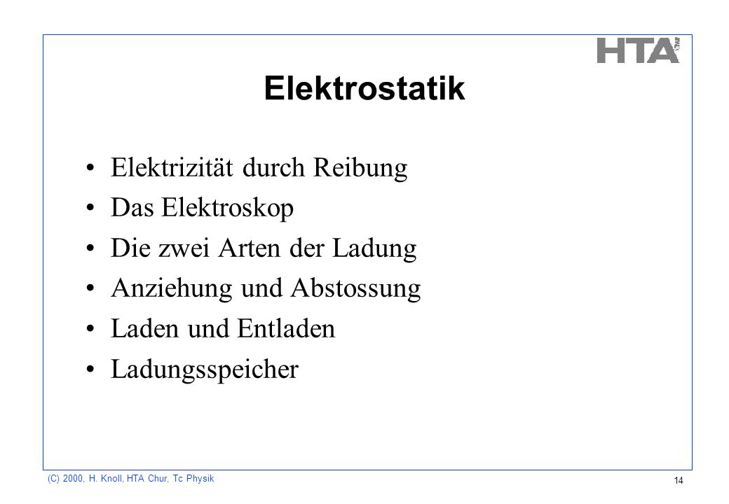 Elektrostatik Elektrizität durch Reibung Das Elektroskop