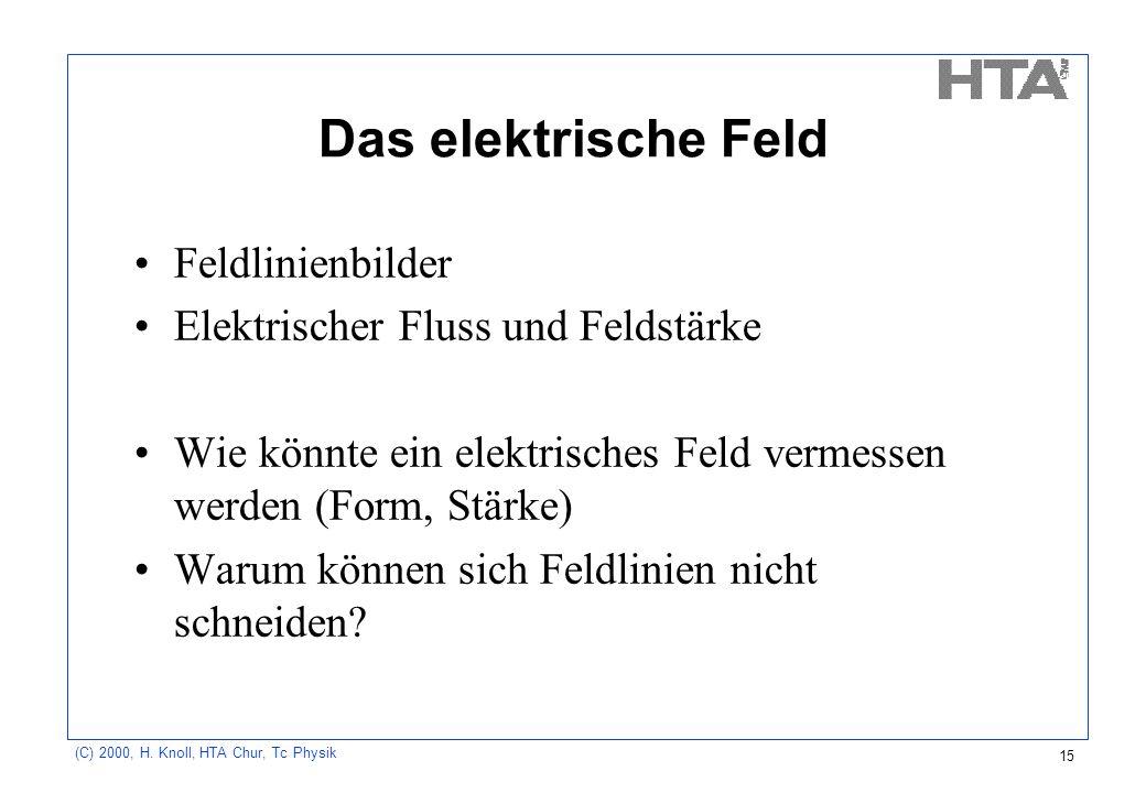 Das elektrische Feld Feldlinienbilder