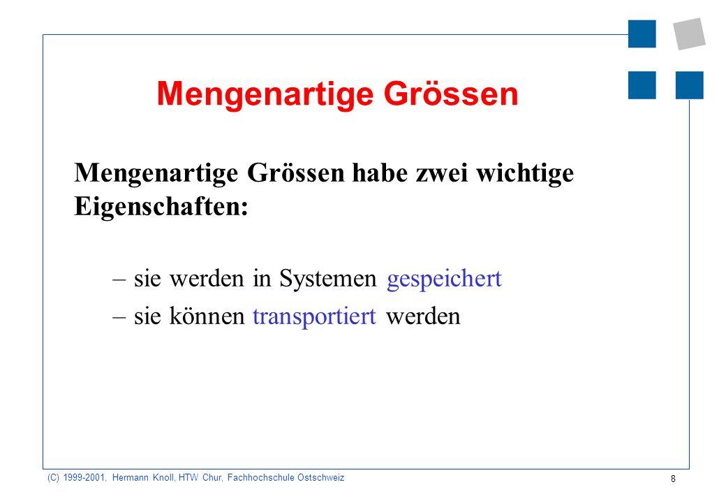 Mengenartige Grössen Mengenartige Grössen habe zwei wichtige Eigenschaften: sie werden in Systemen gespeichert.