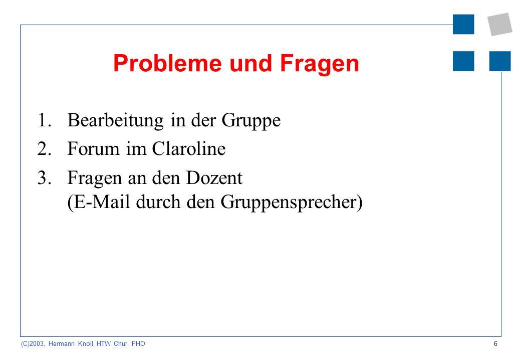 Probleme und Fragen Bearbeitung in der Gruppe Forum im Claroline