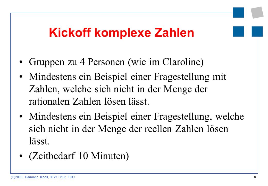 Kickoff komplexe Zahlen
