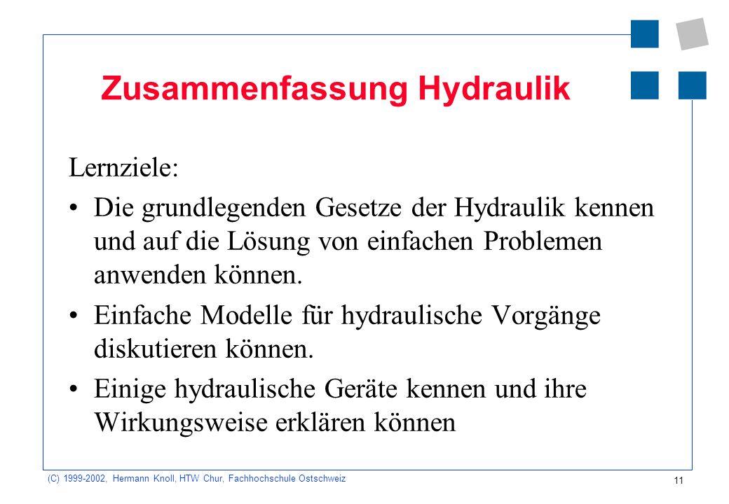 Zusammenfassung Hydraulik