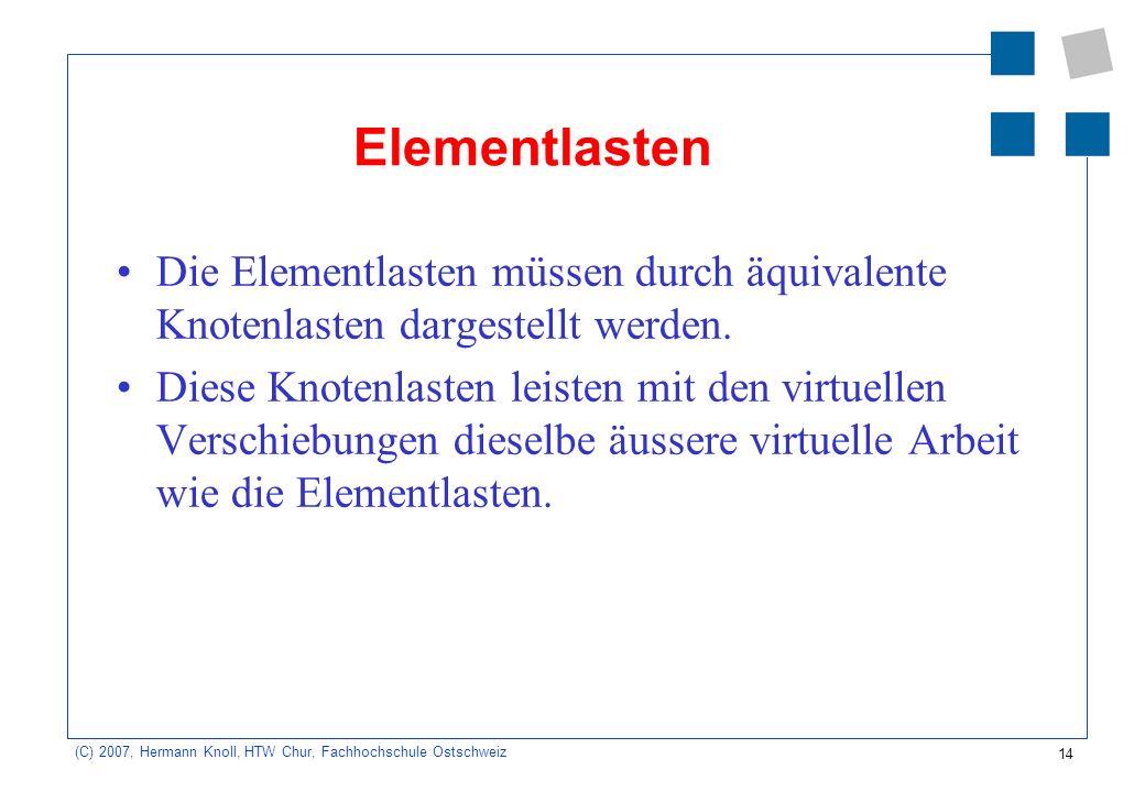 Elementlasten Die Elementlasten müssen durch äquivalente Knotenlasten dargestellt werden.