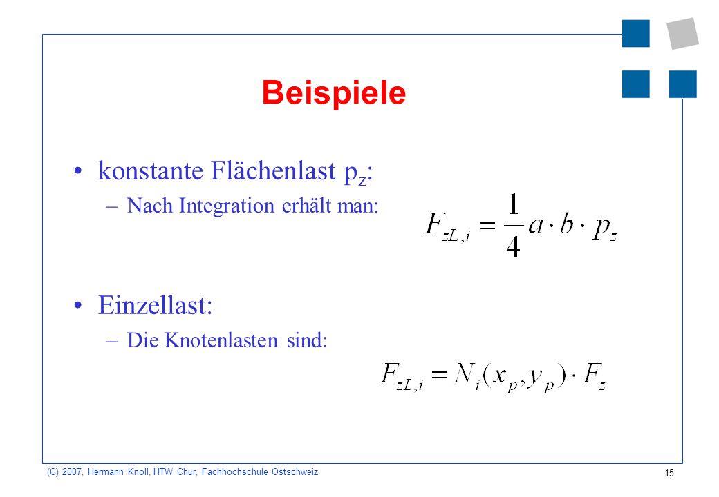 Beispiele konstante Flächenlast pz: Einzellast: