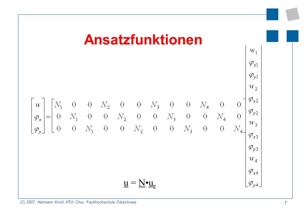 Ansatzfunktionen u = N•ue