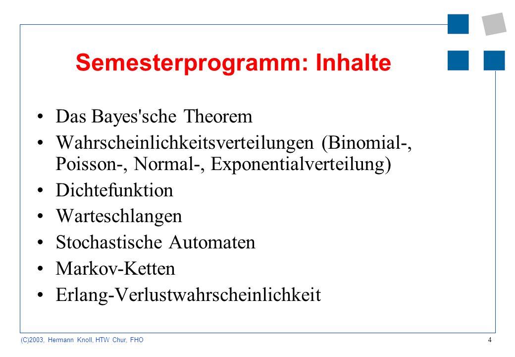 Semesterprogramm: Inhalte