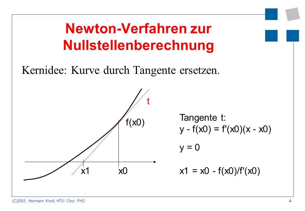 Newton-Verfahren zur Nullstellenberechnung