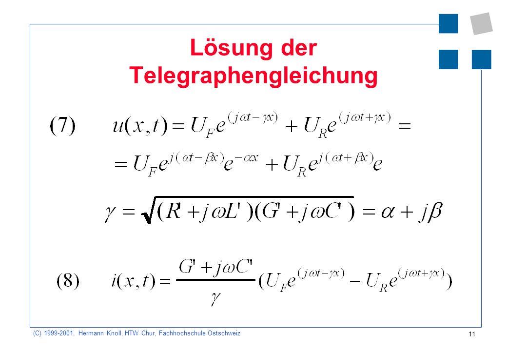 Lösung der Telegraphengleichung