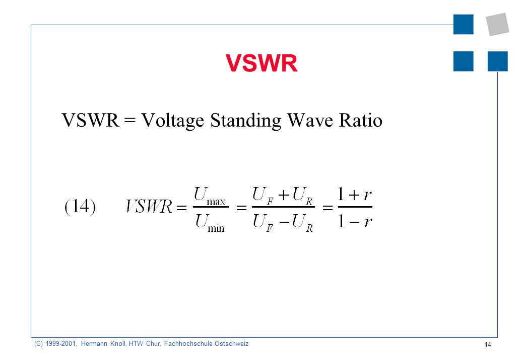 VSWR VSWR = Voltage Standing Wave Ratio