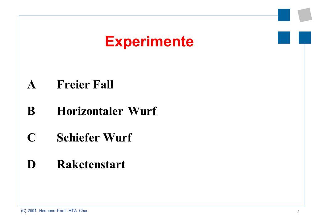 Experimente A Freier Fall B Horizontaler Wurf C Schiefer Wurf