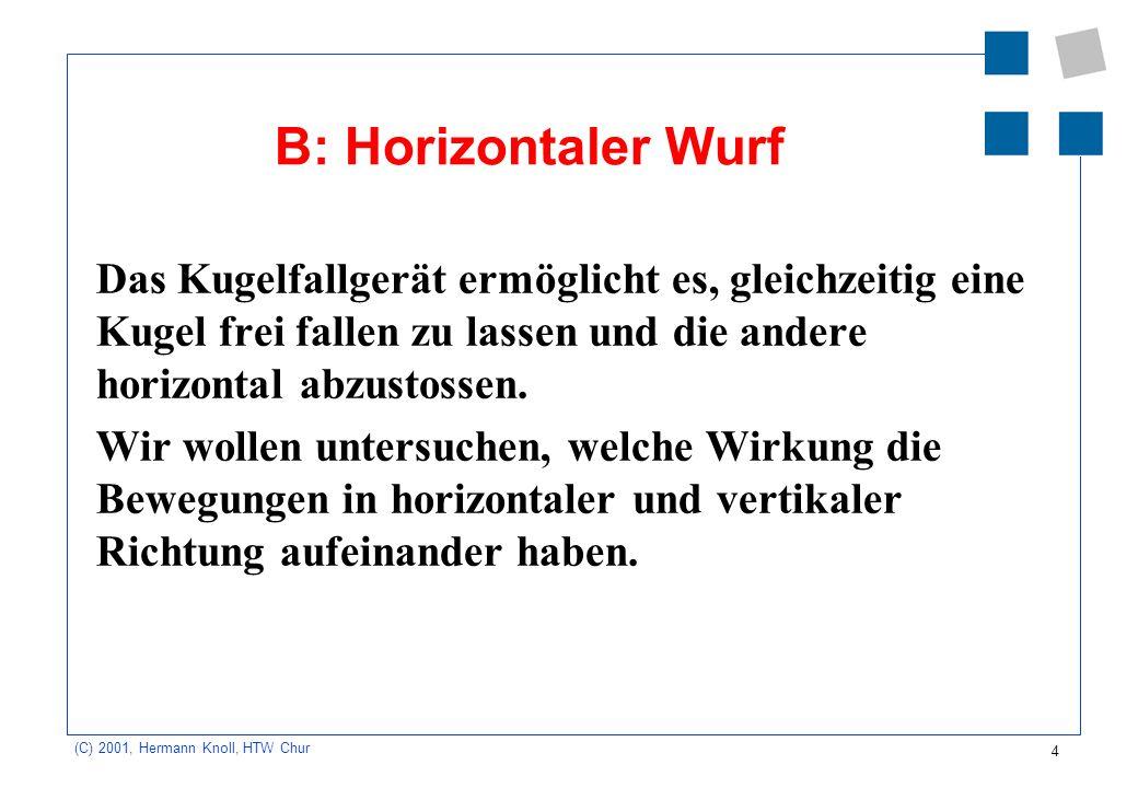 B: Horizontaler Wurf Das Kugelfallgerät ermöglicht es, gleichzeitig eine Kugel frei fallen zu lassen und die andere horizontal abzustossen.