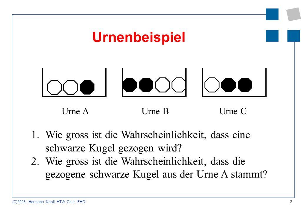 Urnenbeispiel Urne B. Urne C. Urne A. Wie gross ist die Wahrscheinlichkeit, dass eine schwarze Kugel gezogen wird