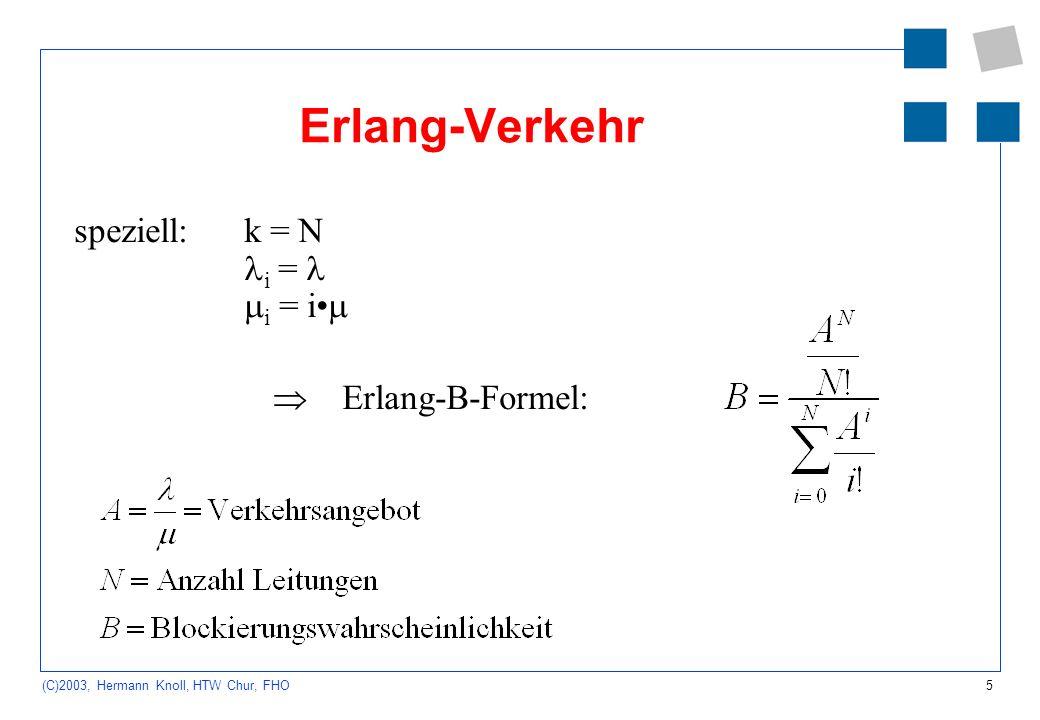 Erlang-Verkehr speziell: k = N i =  i = i•  Erlang-B-Formel: