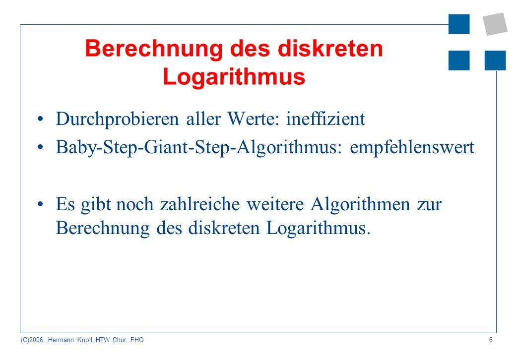 Berechnung des diskreten Logarithmus