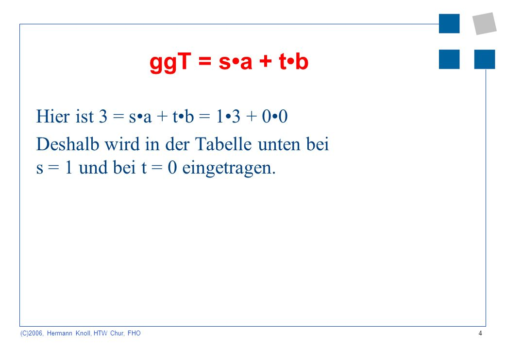 ggT = s•a + t•b Hier ist 3 = s•a + t•b = 1•3 + 0•0