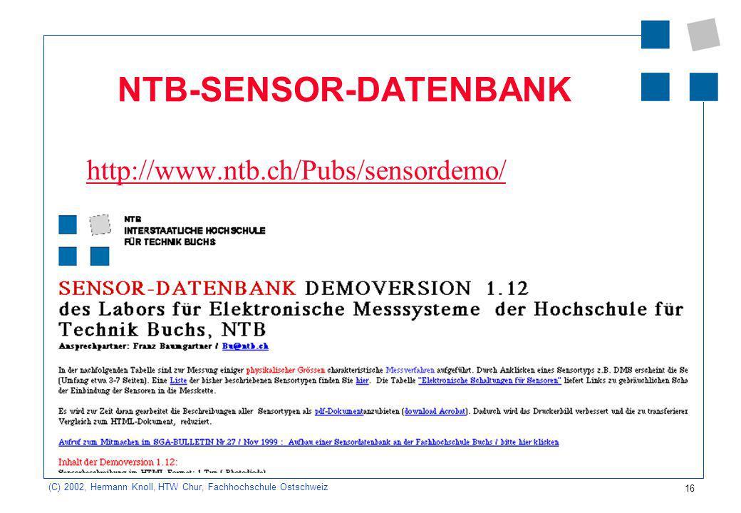 NTB-SENSOR-DATENBANK