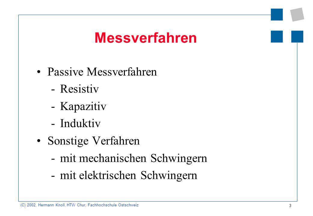 Messverfahren Passive Messverfahren Resistiv Kapazitiv Induktiv