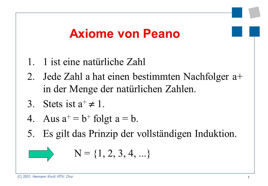 Axiome von Peano 1. 1 ist eine natürliche Zahl