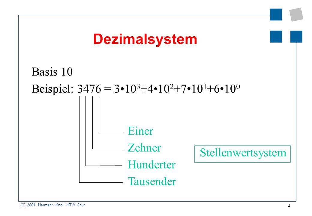 Dezimalsystem Basis 10 Beispiel: 3476 = 3•103+4•102+7•101+6•100 Einer
