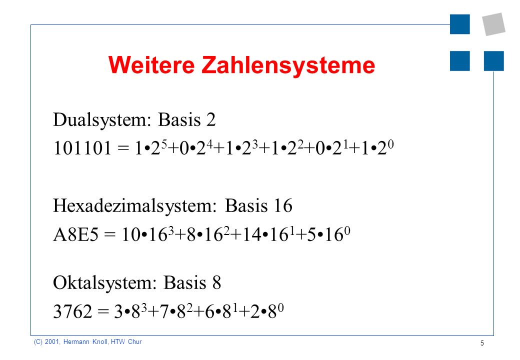 Weitere Zahlensysteme