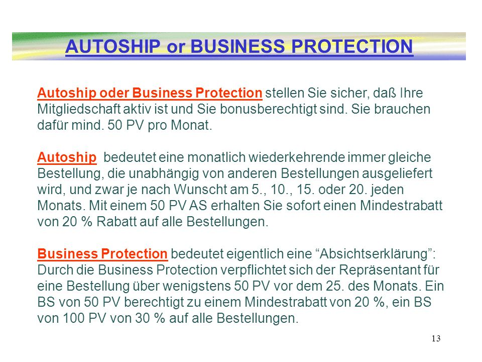 AUTOSHIP or BUSINESS PROTECTION