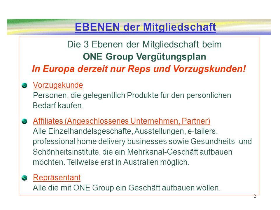 ONE Group Vergütungsplan In Europa derzeit nur Reps und Vorzugskunden!