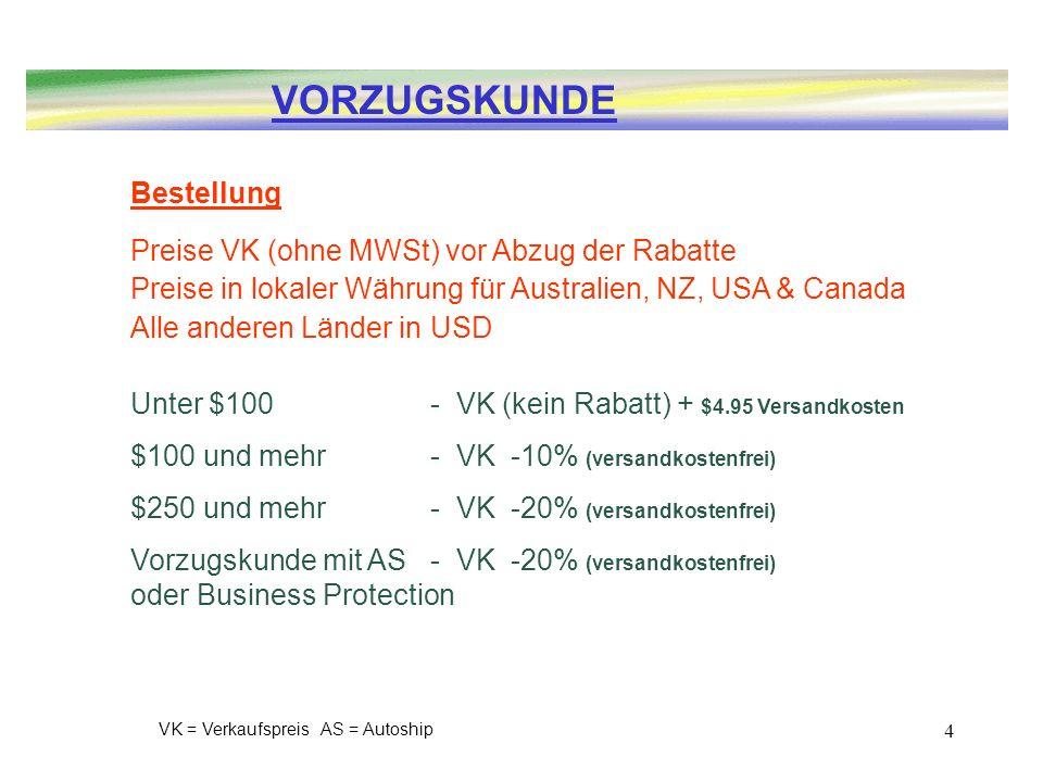 VORZUGSKUNDE Bestellung Preise VK (ohne MWSt) vor Abzug der Rabatte