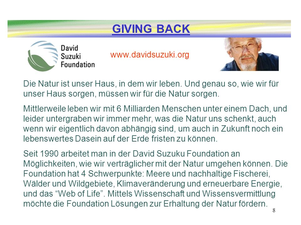 GIVING BACK www.davidsuzuki.org