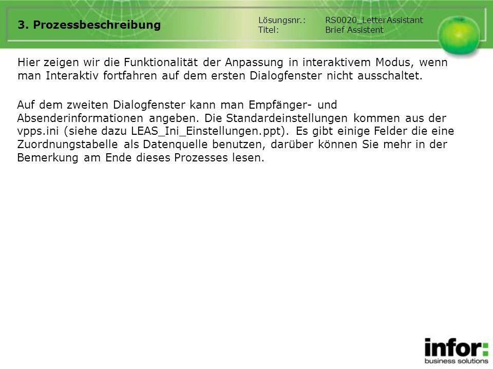 3. Prozessbeschreibung Lösungsnr.: RS0020_LetterAssistant. Titel: Brief Assistent.