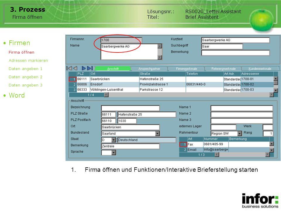 Firma öffnen und Funktionen/Interaktive Brieferstellung starten