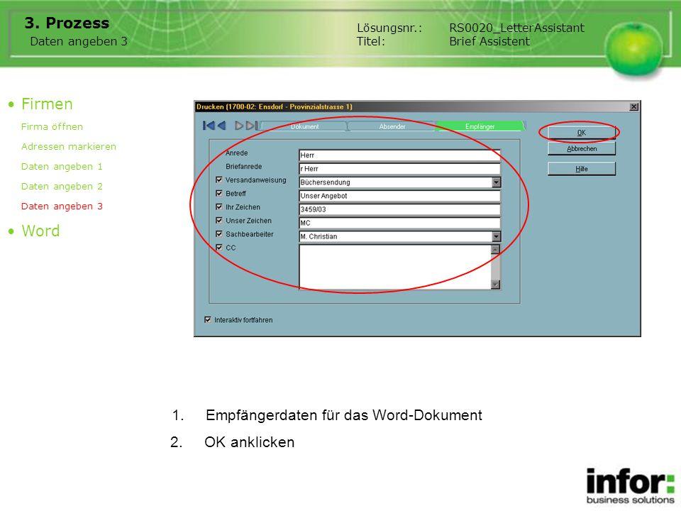 Empfängerdaten für das Word-Dokument