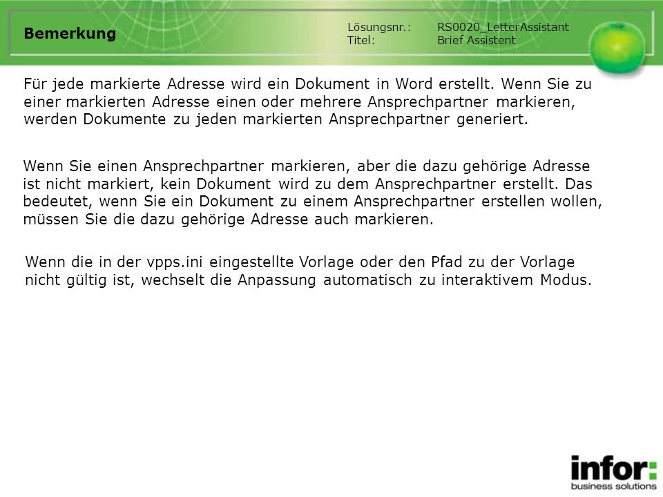 Bemerkung Lösungsnr.: RS0020_LetterAssistant. Titel: Brief Assistent.