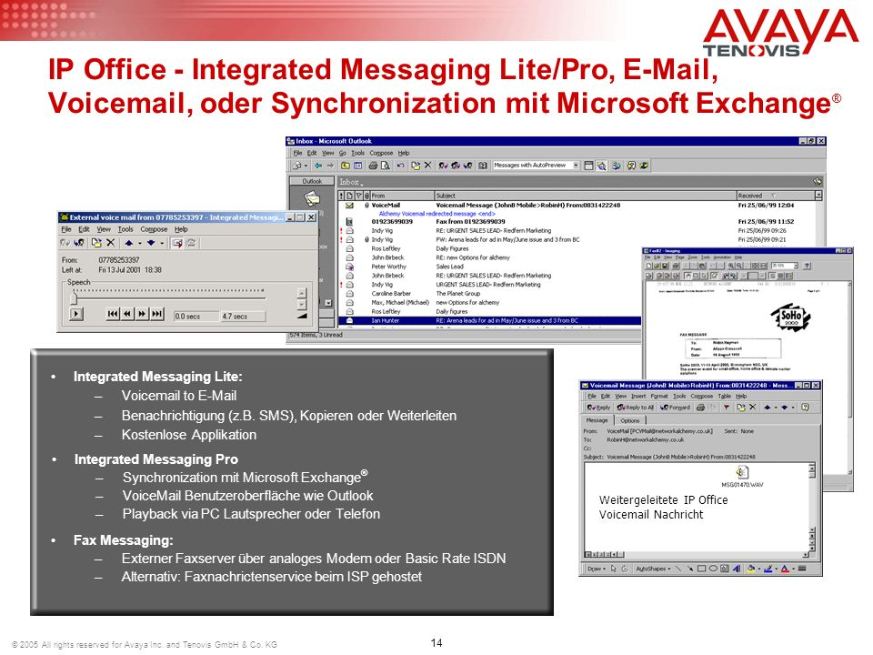 IP Office - Integrated Messaging Lite/Pro, E-Mail, Voicemail, oder Synchronization mit Microsoft Exchange®