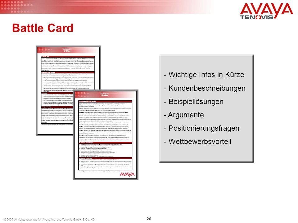 Battle Card Wichtige Infos in Kürze Kundenbeschreibungen