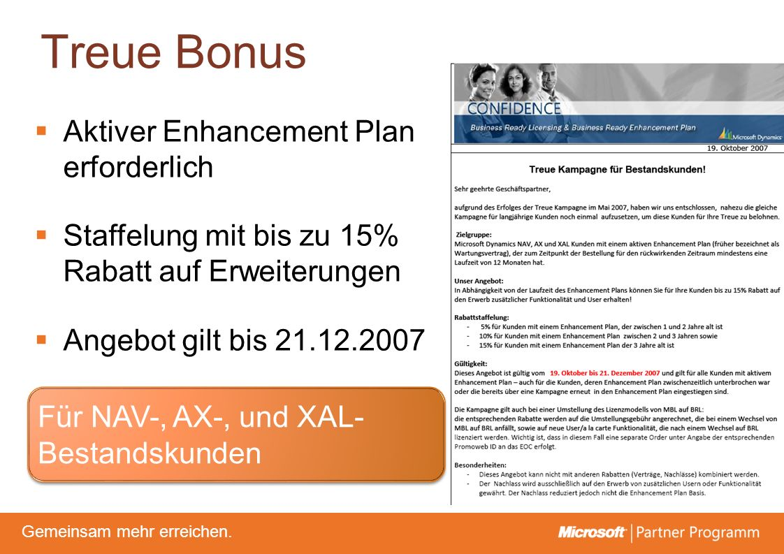Treue Bonus Aktiver Enhancement Plan erforderlich