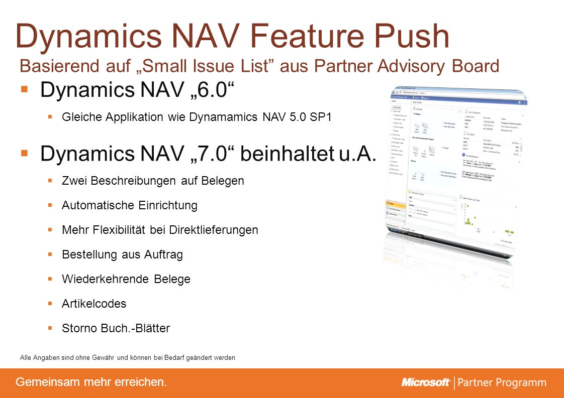 Dynamics NAV Feature Push