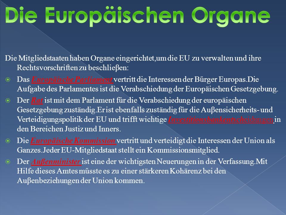 Die Europäischen Organe