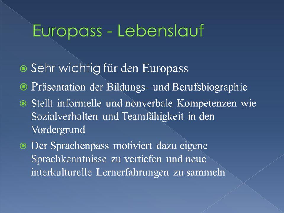 Europass - Lebenslauf Präsentation der Bildungs- und Berufsbiographie