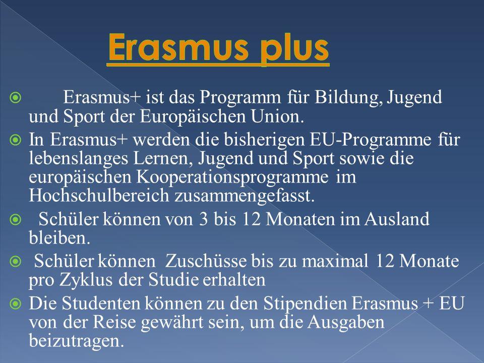 Erasmus plus Erasmus+ ist das Programm für Bildung, Jugend und Sport der Europäischen Union.