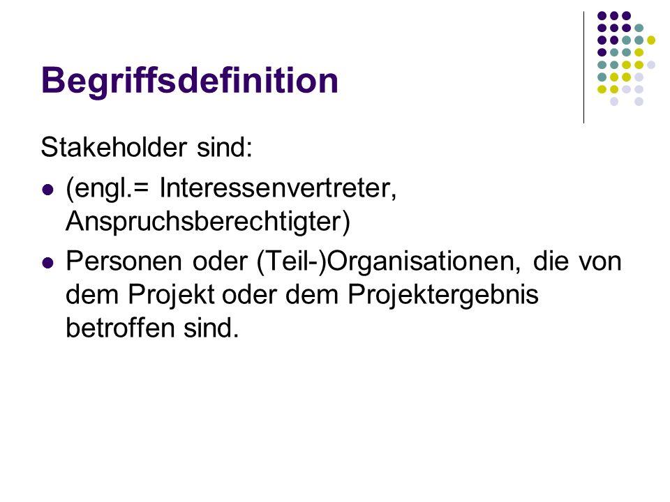 Begriffsdefinition Stakeholder sind: