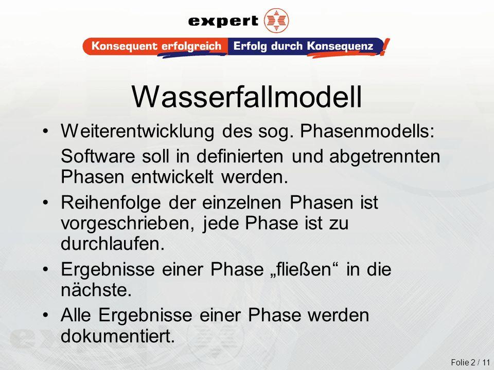 Wasserfallmodell Weiterentwicklung des sog. Phasenmodells: