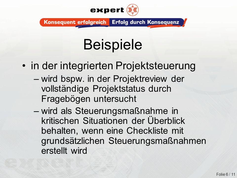 Beispiele in der integrierten Projektsteuerung