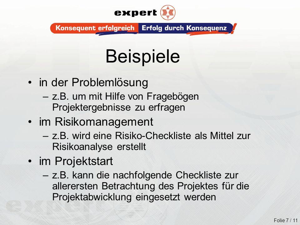 Beispiele in der Problemlösung im Risikomanagement im Projektstart