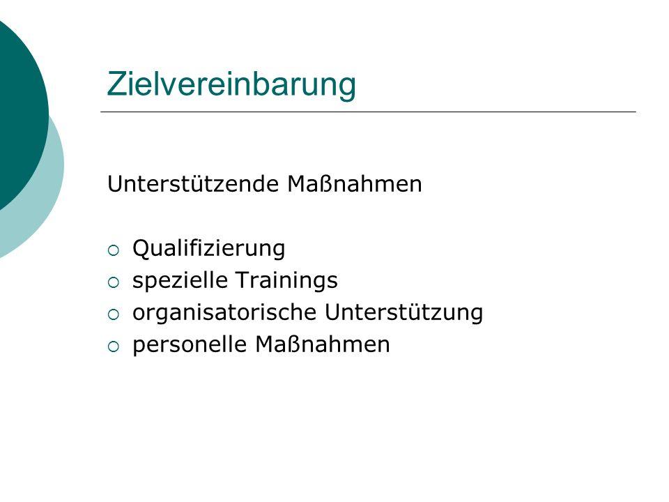 Zielvereinbarung Unterstützende Maßnahmen Qualifizierung