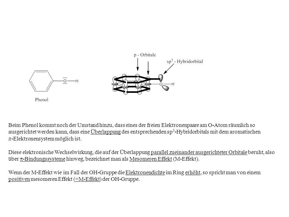 Beim Phenol kommt noch der Umstand hinzu, dass eines der freien Elektronenpaare am O-Atom räumlich so ausgerichtet werden kann, dass eine Überlappung des entsprechenden sp3-Hybridorbitals mit dem aromatischen