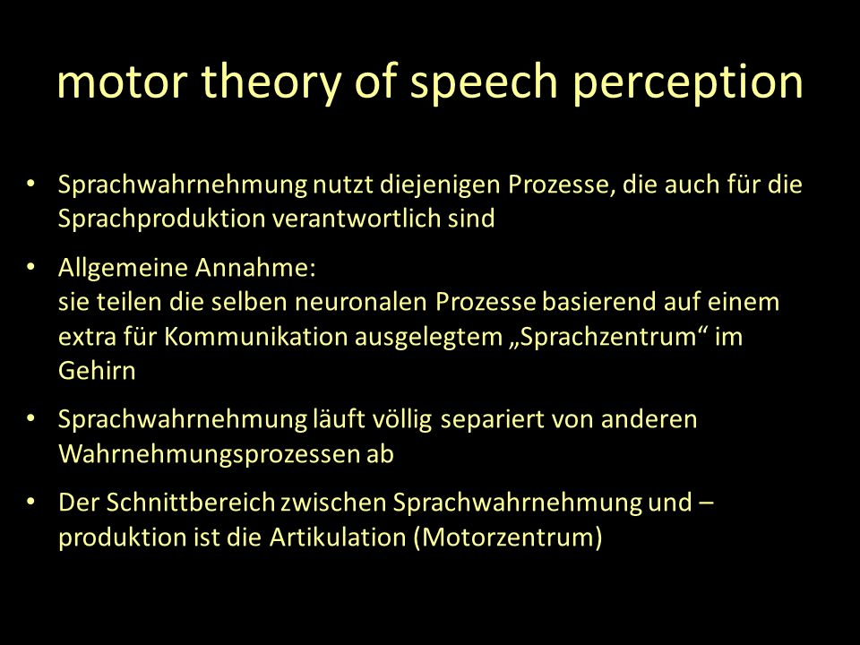 motor theory of speech perception
