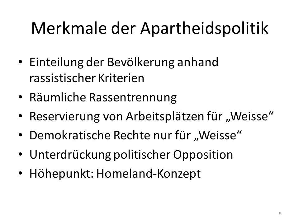 Merkmale der Apartheidspolitik